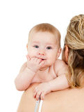 Mother with her child on white background. Mother with her baby over white background Stock Photo