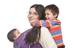 Mother with her children royalty free stock image