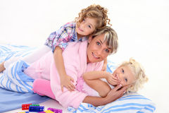 Mother with her children Stock Photos