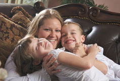 A Mother and her Children Stock Images