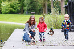 Mother and her children feeding ducks at summer. Adorable little boy and girl royalty free stock photos