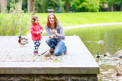 Mother and her children feeding ducks at summer. Mother and her children feeding ducks in summer park, adorable kid boy and girl, siblings having fun together stock photo