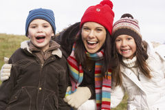 Mother And Her Children Smiling Stock Images
