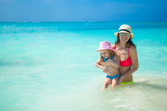 Mother with her cute daughter have fun on summer Stock Image