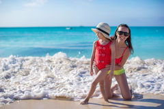 Mother with her cute daughter have fun on summer vacation Royalty Free Stock Image