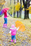 Mother and her daughter in autumn Royalty Free Stock Photos