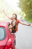 Mother With Her Daughter Going For A Ride In Car stock photos