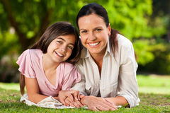 Mother with her daughter lying down Royalty Free Stock Photography