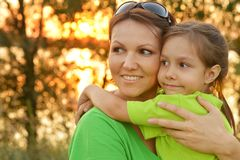 Mother and her daughter outdoors Royalty Free Stock Photography
