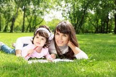Mother with her daughter outside Royalty Free Stock Image