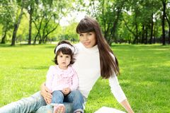 Mother with her daughter outside Royalty Free Stock Images