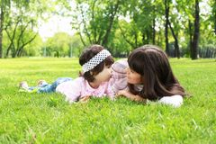 Mother with her daughter outside Stock Photography