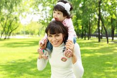 Mother with her daughter outside Royalty Free Stock Photo
