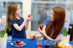Mother and her daughter painting Easter eggs Royalty Free Stock Images