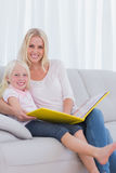Mother and her daughter reading a book Stock Images