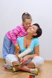Mother and her daughter with repairing tools Royalty Free Stock Images