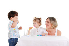 Mother and her daughter and son Stock Photo