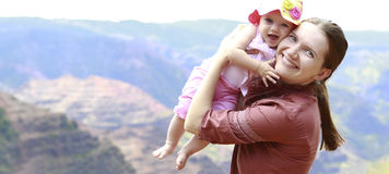 Mother and her daughter in Waimea Canyon Royalty Free Stock Photo