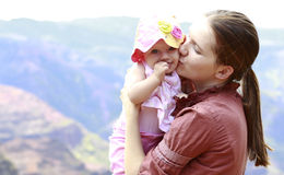 Mother and her daughter in Waimea Canyon Stock Image