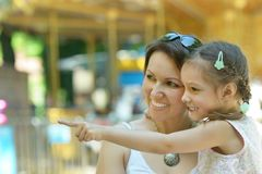 Mother with her daughter walk in summer Royalty Free Stock Images