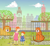 Mother with her daughter in a zoo. Vector illustration; family visit to zoo Royalty Free Stock Image