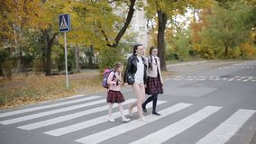 Mother with her daughters are going to school cross the road at a pedestrian crossing. Mother with her daughters crossing the road at a pedestrian crossing on stock video footage