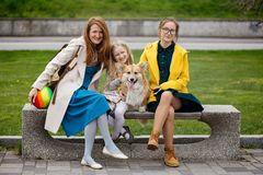 mother with her daughters and dog at the park royalty free stock photos