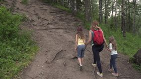 Mother with her daughters embarks on a journey. A family of tourists up the hill on the forest path.  stock footage