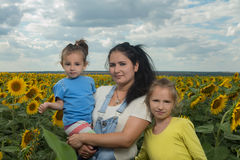 Mother with her daughters in the field with sunflowers. Royalty Free Stock Image