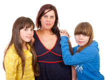 Mother and her daughters portrait Royalty Free Stock Images