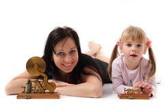 Mother and her doughter and old telegraph Royalty Free Stock Images