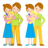 The mother and her husband holding the baby. Home and Family Cha Stock Photo