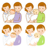 The mother and her husband holding the baby. Marriage and Parent Royalty Free Stock Image
