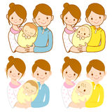 The mother and her husband holding the baby. Marriage and Parent Stock Image