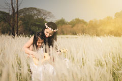 Mother and her kid playing guitar together in meadow nature on sunny day Royalty Free Stock Images