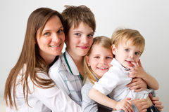 A mother and her kids Stock Photos