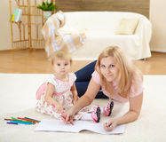 Mother with her little daughter at home Royalty Free Stock Photo