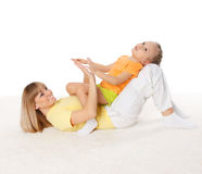 Mother and her little daughter spend time together stock image
