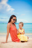 Mother and her little daughter at tropical beach Stock Photography