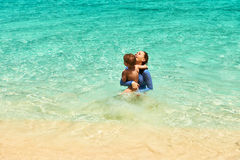 Mother and her little son at the beach Royalty Free Stock Images
