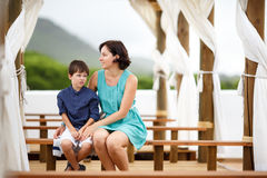 Mother and her little son during summer vacation Royalty Free Stock Photo