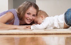 Mother and her playful son Royalty Free Stock Photos