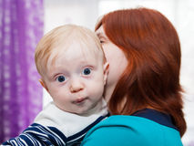 Mother with her son in   arms. Royalty Free Stock Image
