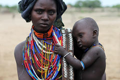 Mother and her son - Ethiopia - Arbore tribe. Mother and her son - Ethiopia, Africa - Arbore tribe Stock Image