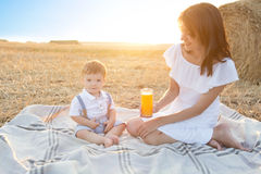 Mother and her son on holiday at a picnic. Royalty Free Stock Photos