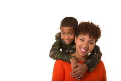 A mother and her son. Isolated against a white background. Room for copy space Royalty Free Stock Images