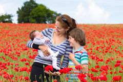 Mother with her son and newborn baby in red flower Royalty Free Stock Photos