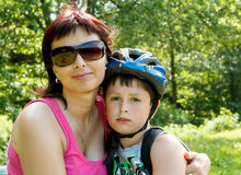 Mother and her son outdoor Royalty Free Stock Image