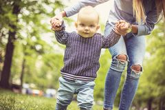 Teaching first steps. royalty free stock images