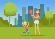 Mother and her son playing together with a ball in city park outside, family leisure vector illustration. Web banner Stock Photo